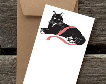 BF22: Black Cat with Pink Ribbon - 8 Blank flat cards and envelopes