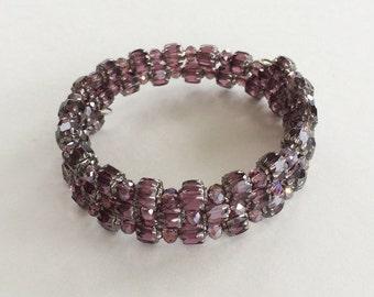 Amethyst glass bead memory wire bracelet silver
