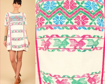 ViNtAgE 60's 70's Huipil OAXACAN Mini Dress Mexican HandWoven  Caftan Gauze Cotton Gauzy HiPPiE Gypsy S/M Small Medium