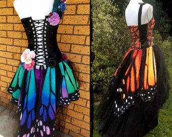 Butterfly Wing Wedding Gown - Custom Made - Fae Faery Prom Handfasting Masquerade Ball Costume Monarch Butterfly One of a kind