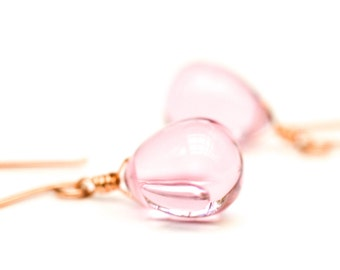Rose gold earrings glass, pink glass earrings, pink drop earrings, rose color earrings, pink stone earrings Paka Ua Plump Pink v2