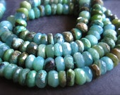 Peruvian Opal beads faceted rondelles - stone beads - 6 1/2 inches 7.8mm X 4mm