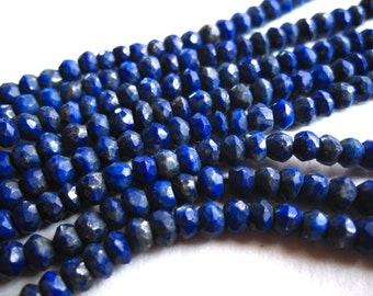 6 1/2 Inch strand Lapis Lazuli beads - faceted rondelles - 3mm X 2.5mm - semiprecious gemstones