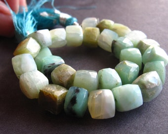 Peruvian Opal cube beads semiprecious gemstone faceted 7mm 8 inches