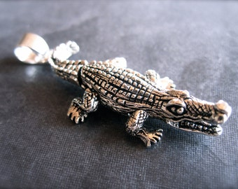 Movable Alligator pendant - tail and feet move - solid sterling silver - oxidized and polished - with bail