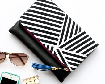 Boho Tassel Clutch in Black and White Geometric Lines Print and Black Vegan Leather and Purple and Gold zipper close