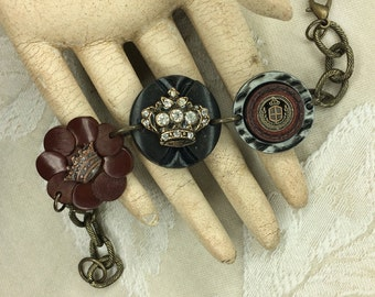 Vintage Found Object Bracelet - Crown, QUEEN, crest, Rhinestone, princess, OOAK, up cycled recycled, junk, treasures, button