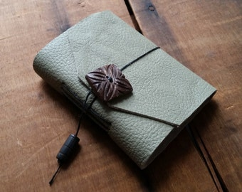 Light Grey Leather, Carved wood button,Small Handbound Leather Journal Book