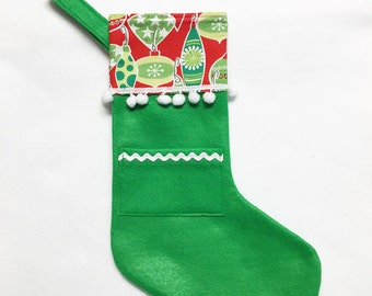 Green Stocking, Pocket Stocking, Pocket Peeper - Jolly Ornaments, Apple Green, Red