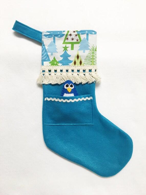 Felt Stocking, Christmas Stocking, Pocket Stocking, Penguin - Snowy Forest, Teal Stocking, Vintage Ivory Trim