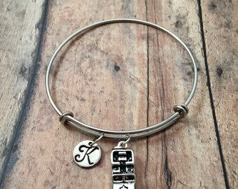 Military vehicle initial bangle - army jewelry, military bracelet, SUV bracelet, MP jewelry, gift for military wife, army truck bracelet