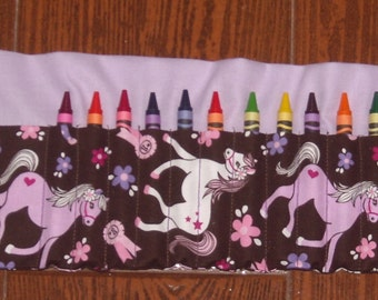 pink and purple pony crayon roll