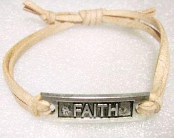 Show Your FAITH Bracelet Dusty Rose faux Leather adjustable sliding knot