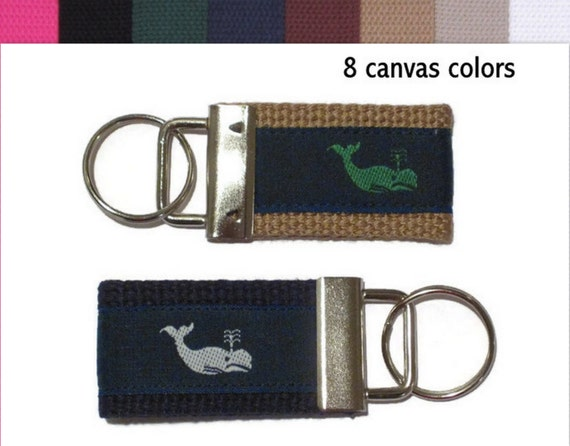 Whale Keychain / Preppy White Whale Key Ring / Small Key Fob / Green Whale Keychain / Canvas Key Holder -  Whale Women's Teen Men's Gift