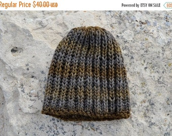 Prefall Sale Olive & Earth Hat - Hand Knit Hat in Earthy Browns and Grey - Hand Knit Sparkle Hat,  Knit Textured Beanie. Ready to ship. Trad