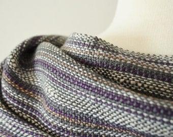 Handwoven Multi Summer Scarf - Gunmetal Grey Bamboo, Ecru Cotton, Purple, Lavender, Fawn. Hand-Hemmed Short Fringe, Boho Dark Summer Wear
