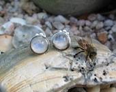 Rainbow Moonstone Sterling Silver Studs, Post Earrings, Moonstone Earrings, Gemstone, Natural Jewelry