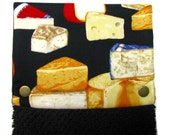 Hanging towel, Hand towel, Kitchen towel, bathroom towel, oven, snap on towel, guest towel, camper, 100% cotton, Cheese! Cheese!  on black
