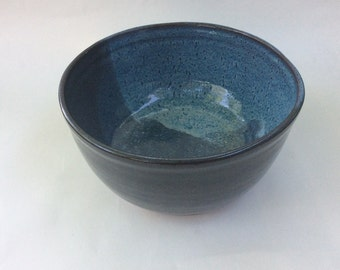 large blue bowl - ceramic mixing bowl-pottery serving bowl- handmade- fruit bowl