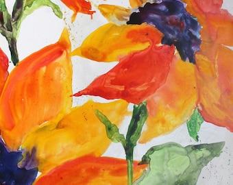 ORIGINAL-Sunflower Explosion in Bold Bright Yellow and Orange-Loose Impressionist Style YUPO original watercolor