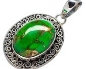 Turquoise Necklace - Green Turquoise Pendant - Oval Decorative Silver - Gemstone Jewelry