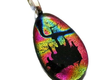 Disney Castle Necklace - Fused Glass Pendant - Fused Glass Jewelry - Cinderella Castle - Bright Multi Teardrop Dichroic