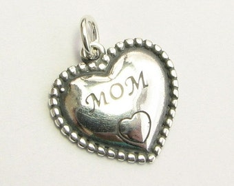 CIJ SALE MOM Sterling Silver .925 Heart Charm Pendant with Open Jump Ring (1 piece)
