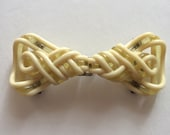 Extruded Celluloid Belt Buckle Closure Fastener Cream and Clear Vintage Clothing Repair