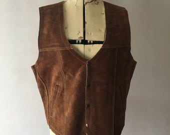 Suede Sherpa Vest Boho Cowgirl Fall Layering Mexican Leather Size 40