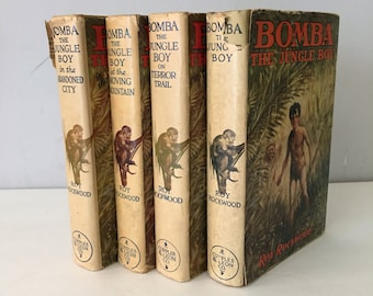 Bomba The Jungle Boy by Roy Rockwood 1920's Young Adult Childrens Fiction Literature Book Collection Set of Four