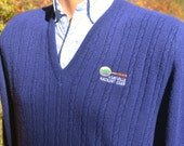 vintage 70s izod sweater v-neck ASHEVILLE racquet club tennis cable knit navy preppy Large Medium