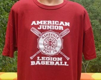 vintage tee 80s american LEGION baseball little league team asheville t-shirt XXL 2xl red