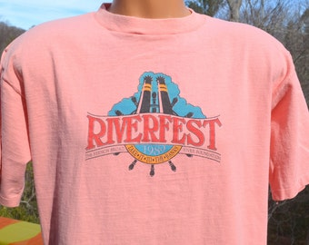 vintage t-shirt 80s french broad RIVER FEST tee Large XL peach asheville festival