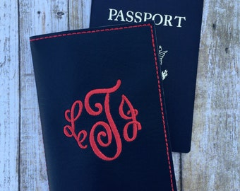 Personalized Passport Cover for Women - Arabesque Monogram Passport Holder - Faux leather Passport Cover- Travel Gift for Her