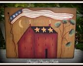 Americana Flag Salt Box Wood Shelf Sitter Block Summer Home Decor