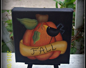 Fall 4x4 Mini Canvas Pumpkin Crow Home Decor Decoration