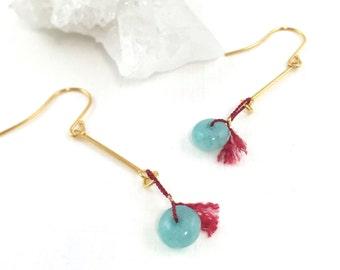 March Birthstone, Aquamarine Earrings Gold, Dainty Gold Earrings, Dainty Drop Earrings, Multi Gemstone Earrings, Gold Gem Earrings, Tassle