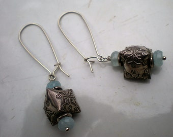 Sterling Silver  and Hill Tribe Earrings with Aquaramine Beads