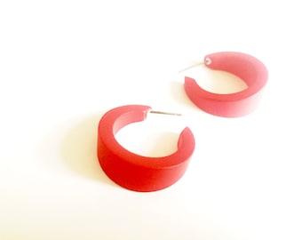 Red Hoop Earrings | Cherry Red Lucite Hoops by Leetie Lovendale | vintage lucite small tapered hoop earrings | The Amelia Hoop