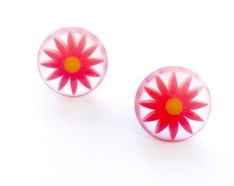 Orange Flower Studs | Bright Orange Daisy Earrings | vintage lucite stud button earrings