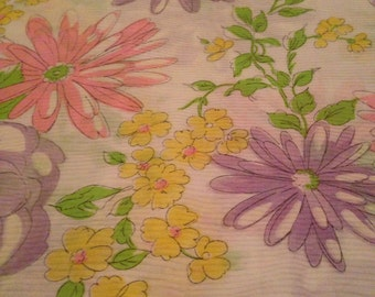 Vintage 1970s Pink Purple Yellow Floral Print Cotton Fabric - 2 Yards - Fabric Yardage /Pastel Fabric /Cotton Fabric /1970s Fabric /70s