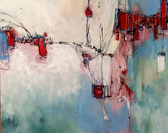 Large abstract painting Artwork painting  modern painting pink red blue Wood panel