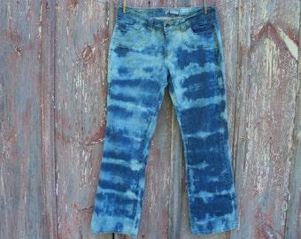 Misses Size 12 Bleach Tie Dye Jeans OOAK