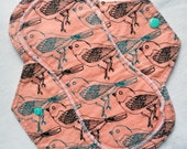 Menstrual Flannel Maxi Pads - 9.5 inch Reusable Eco Friendly Cotton Mama Cloths - Soft Papaya Pink with Black and Turquoise Birds