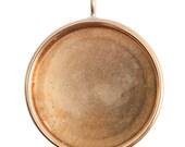 Large Deep Bezel Circle Pendant in Golden Brass