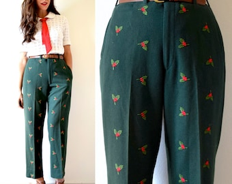 Vintage 60s 70s Under the Mistletoe Green Wool Embroidered Trousers