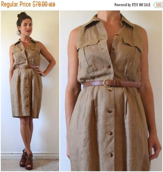 SUMMER SALE / 20% off Vintage 90s Great Plains Taupe Linen Shirt Waist Sleeveless Safari Dress (size medium)