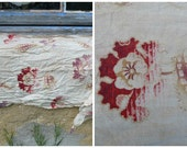 Vintage Antique old French 1900 faded colors printed floral cotton fabric