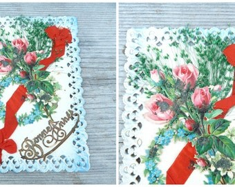 Antique 1900s Bonne Année French lace paper /die cut   ,ribbon and real dried herb leaves postcard