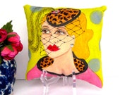 new...VERONICA PILLOW, hand painted, midlife madonna, hot pink suit, hat with veil, fun quote, gift for woman, Christmas gift, animal print